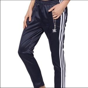 Adidas cigarette pants navy blue shiny limited